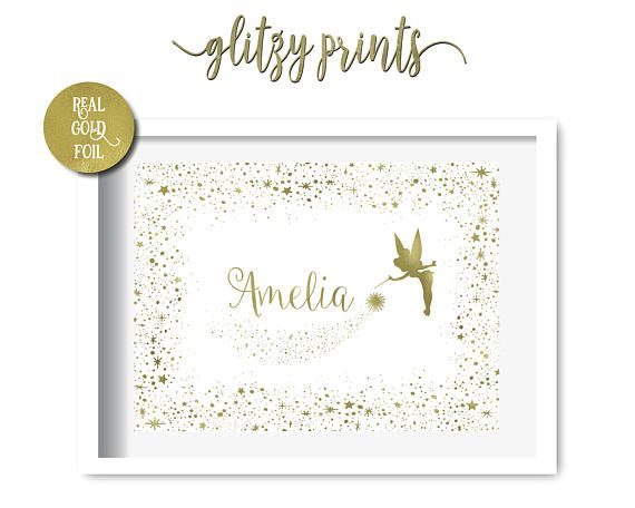 Lovely Tinkerbell Fairy, Nursery Print, Nursery Wall Art, Nursery Decor, Girls Nursery, Gold Foil Print. Add a touch of sparkle to your little girl's room with a personalised Tinkerbell Fairy Gold Foil Print. Also available in Silver, Rose Gold, Copper, Pink, Purple, Turquoise & Blue.