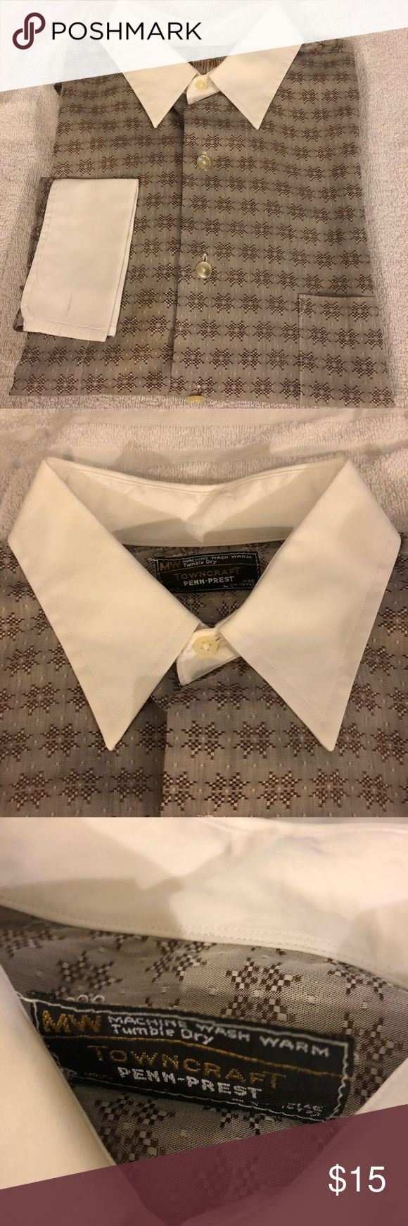 Towncraft Brown Star Pattern French Cuff Shirt L Towncraft Brown and Tan Star Pattern With White Collar and French Cuff Shirt size L 16-16.5 34/35! Great condition!  Please make reasonable offers and bundle! Ask questions :) Towncraft Shirts Dress Shirts