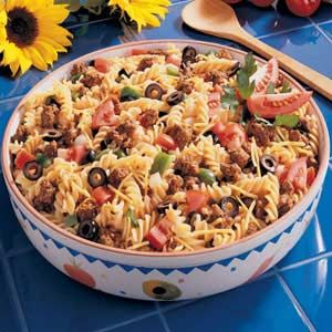 Sombrero Pasta SaladTacos Seasons, Taste Of Home, Pasta Salad Recipes, Tacos Pasta Salad, Ground Beef, Salad Dressings, Tacos Salad, Taco Salads, Sombrero Pasta