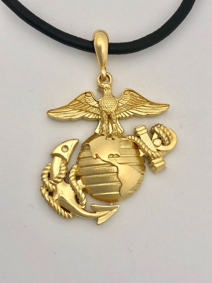 267 best marine corps rings and jewelry images on pinterest 15 tall solid 24k gold eagle globe and anchor pendant aloadofball Images