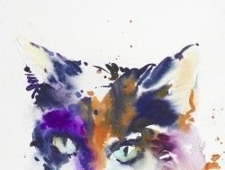 Cat portait painting in watercolour