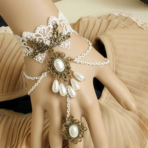 Free Shipping  fashion gothic  real pearl lace bracelets and ring set evening party jewelry hot sellling