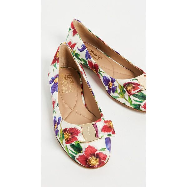 Salvatore Ferragamo Varina Flats ($580) ❤ liked on Polyvore featuring shoes, flats, ballet pumps, slip on flats, flat pumps, flat shoes and floral ballet flats