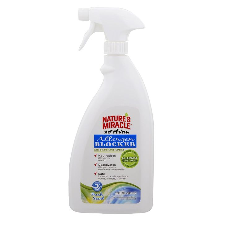 Affordable Vet - Nature's Miracle® Allergen Blocker Products, $7.00 (http://www.affordablevet.net/grooming-clean-up/natures-miracle-allergen-blocker-products/)