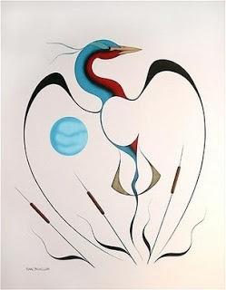 (Blue Heron by Isaac Bignell, 1959-1995,   Canadian Cree artist)