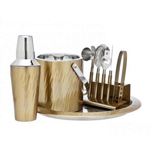 Aztec Gold 9 Piece Bar Cocktail Set with Tools, Ice Bucket and Tray