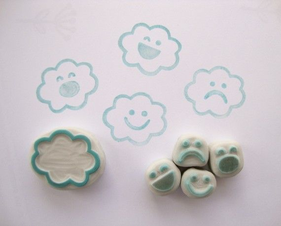 Cloud+Emotions+Hand+Carved+Rubber+Stamp+Set+by+eatpraycreate,+$13.50