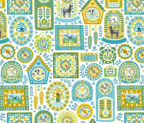 Eclectic Clock Collection fabric by christinewitte on Spoonflower - custom fabric