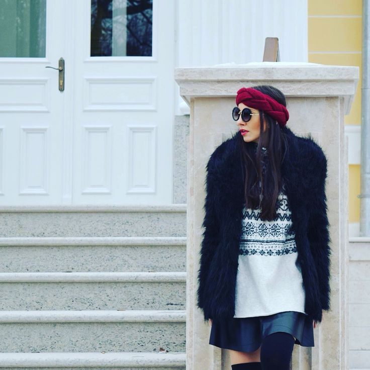 Outfit #leather mini skirt #fur coat