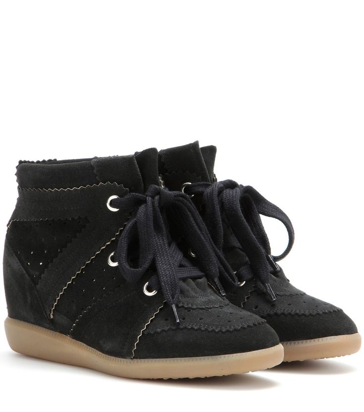 Isabel Marant - Étoile Bobby suede wedge sneakers - With their low, concealed wedge heel and neutral hue, Isabel Marant Étoile's suede 'Bobby' sneakers are a must for busy girls on the go. Wear them with everything from miniskirts to short shorts and skinny jeans. seen @ www.mytheresa.com