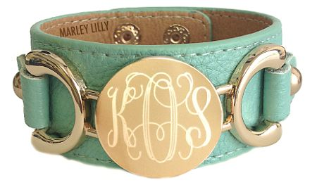 Marley Lily Monogrammed Mint Genuine Leather Cuff Bracelet-I need to have this like yesterday....