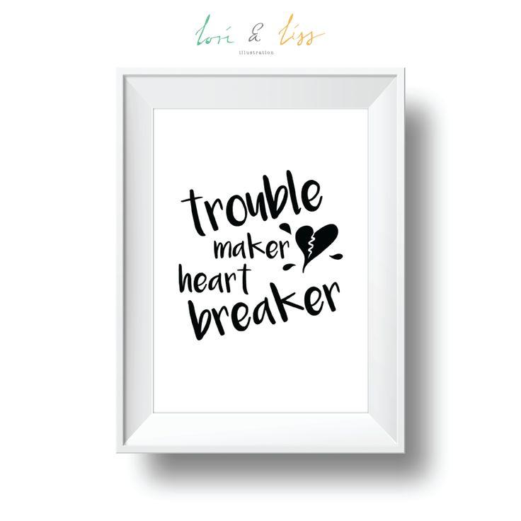 trouble maker heart breaker A4 Portrait Print by lori & liss