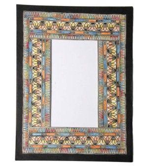 Mirror Frame Multicoloured Handpainted Madhubani Painting