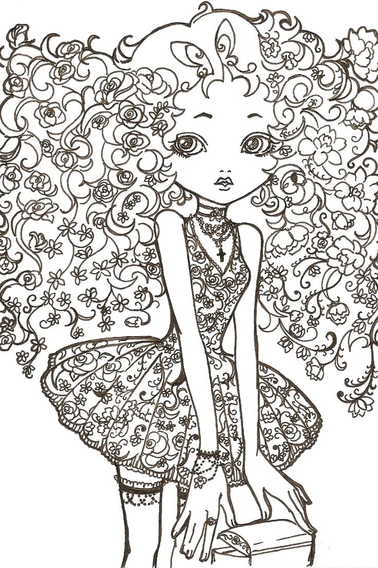 Flower Girl Line Art by kitschDollviantart on deviantART Coloriage ZenColoriage AdulteColoriage