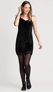 Fluwelen jurk in zwart