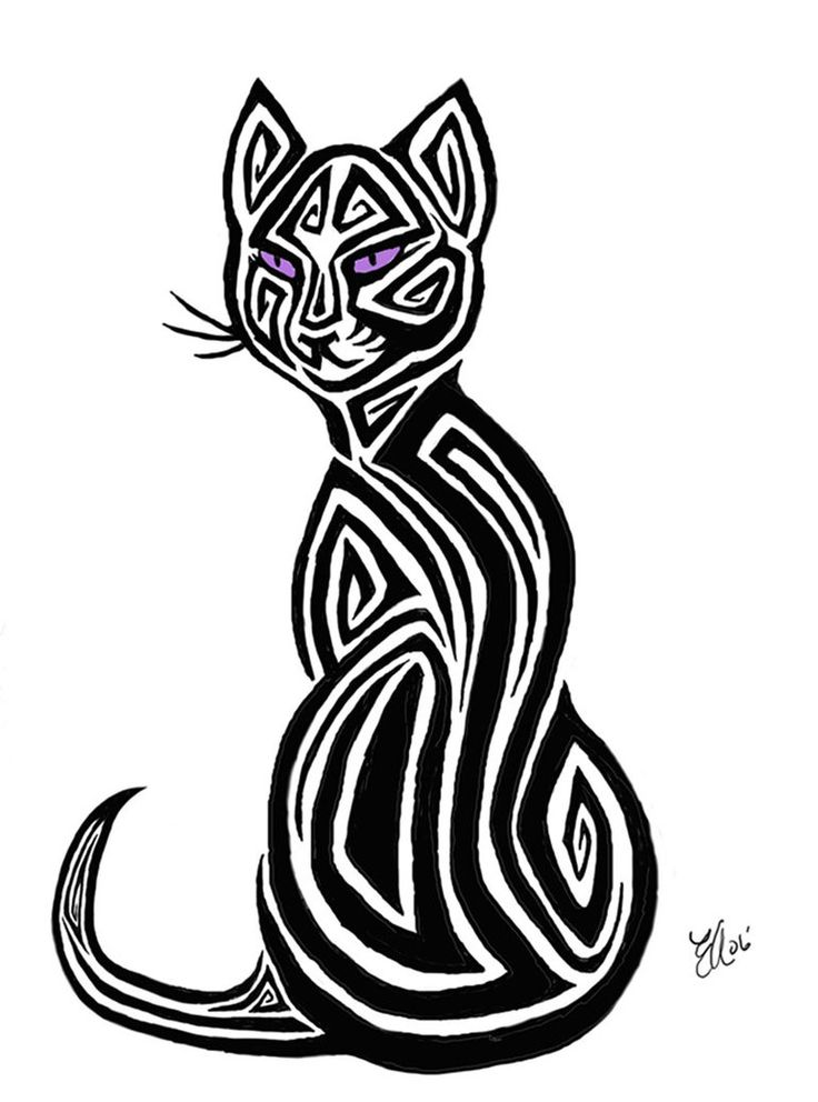 Tribal Cat Tattoo Design by ~AerynOustinne on deviantART