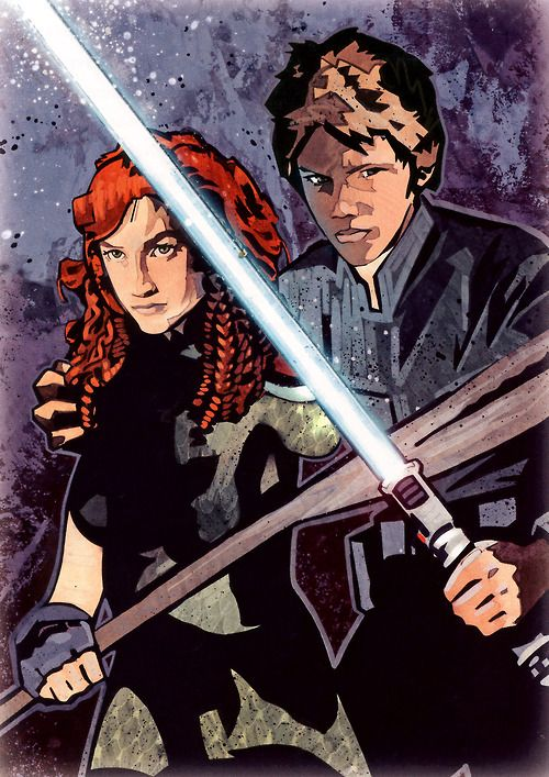 Tenel Ka Djo and Jacen Solo (as teens) by John Van Fleet for The New Essential Chronology.