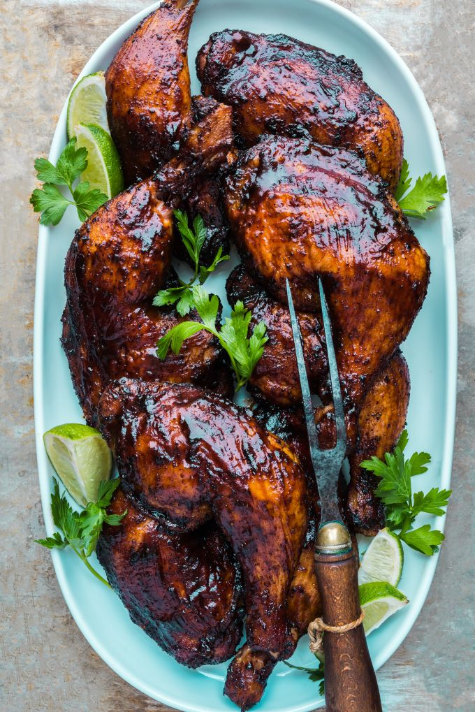 ANCHO CHILE, CUMIN, COFFEE & LIME ZEST-RUBBED SMOKED CHICKEN LEGS with SMOKY BARBECUE SAUCE GLAZE [dennistheprescott] [chile, chilli, chili, pepper, chili pepper, hot pepper]