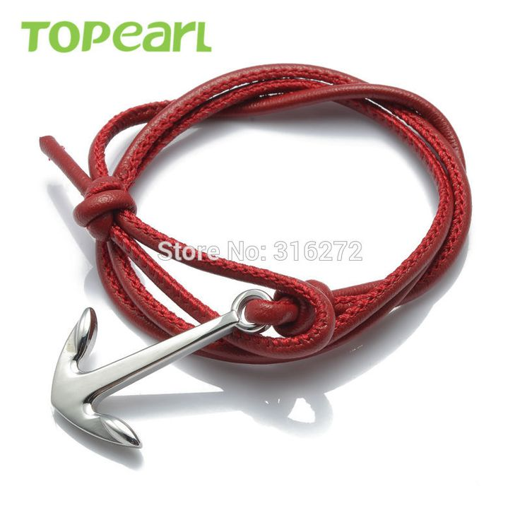 Topearl Jewelry 3pcs Nautical Anchor Multi-Strands Braided Wrap Bracelet Red MEB171