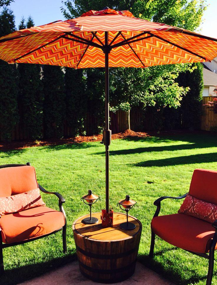 Easy to make Patio umbrella table/stand DIY Patio