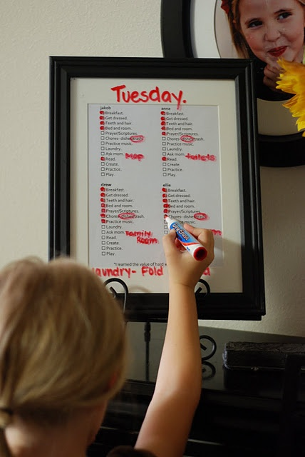 Love this!!  You could use a highlighter to show what chores need to be done for the day you write at the top. Kids could each have their own color marker to mark off the ones they do. Having them all in one place could be helpful.