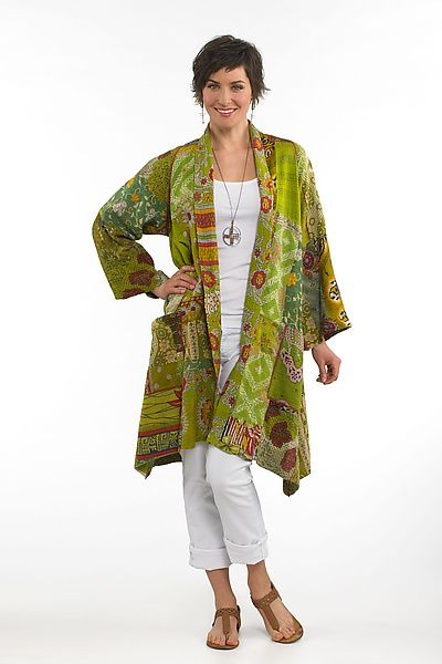 """Mieko Mintz """"Two-Layer A-Line Jacket"""" Cotton Jacket.  Doubly divine, this fully reversible jacket offers two ways (at least!) to wow. In a multicultural collaboration, it's sewn in New York from vintage saris pieced in India using traditional kantha quilting techniques."""