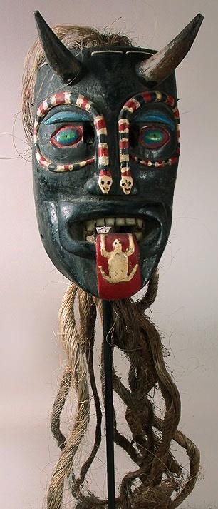 Diablo mask Pastorela dance, Guanajuato 11 inches, painted wood, plant fiber A…