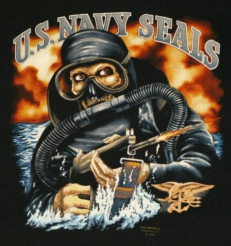 Vintage 1980's 3D Emblem USA Navy Seals T-Shirts