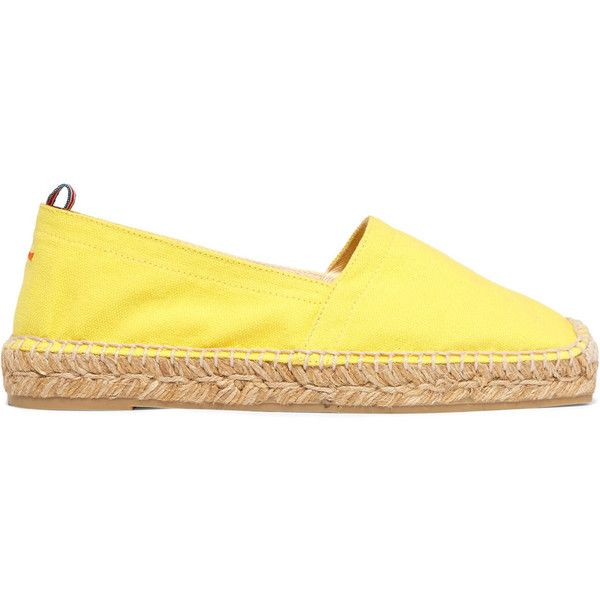 Castañer Canvas espadrilles (£33) ❤ liked on Polyvore featuring shoes, sandals, yellow, castaner espadrilles, canvas slip on shoes, yellow sandals, castaner shoes and espadrilles shoes