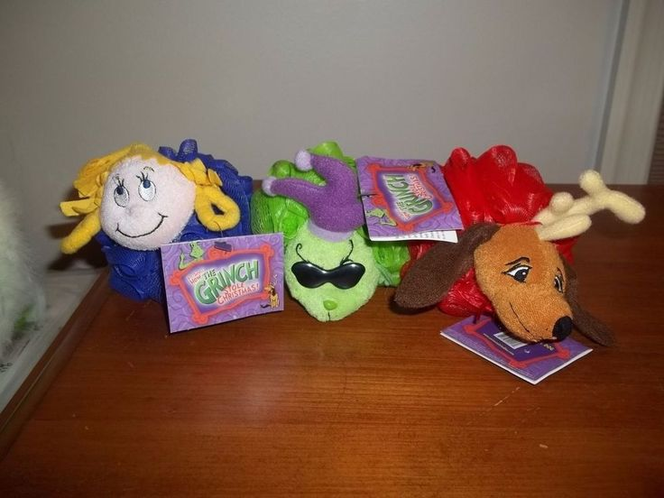LOT OF 3 Dr Seuss How The Grinch Stole Christmas CLEANIMALS MESH BATH SPONGE TOY #UNIVERSALSTUDIOS