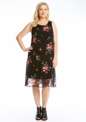 Karen Kane  Plus Size Rose Print Dress