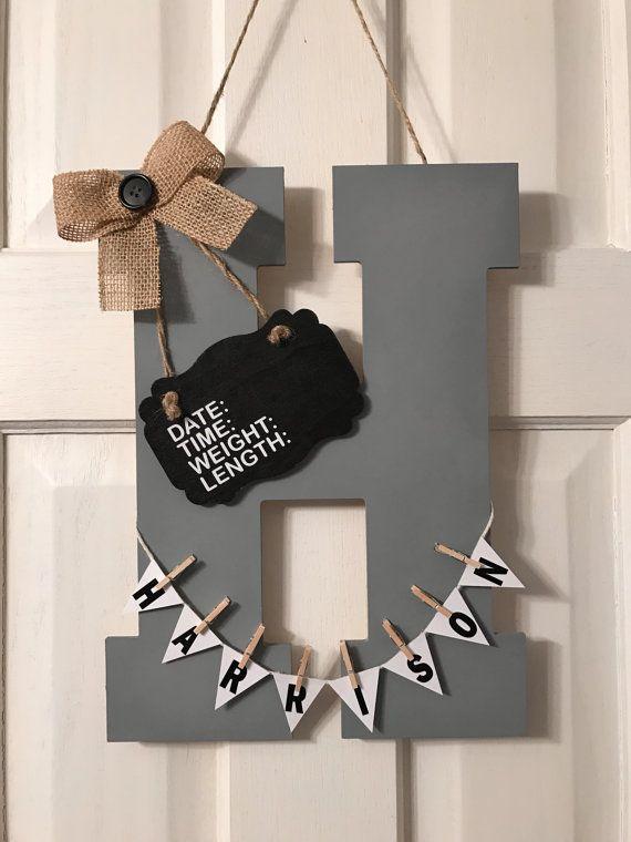 Welcome baby hospital door hanger, nursery hanger, personalized, custom initial announcement childs room