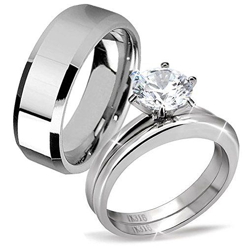 His Hers Classic 3 Pcs Men Tungsten Band Women Round Cut Stainless Steel  Wedding Engagement Ring