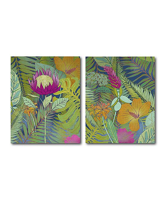 Tropical Tapestry I & II Wrapped Canvas Set