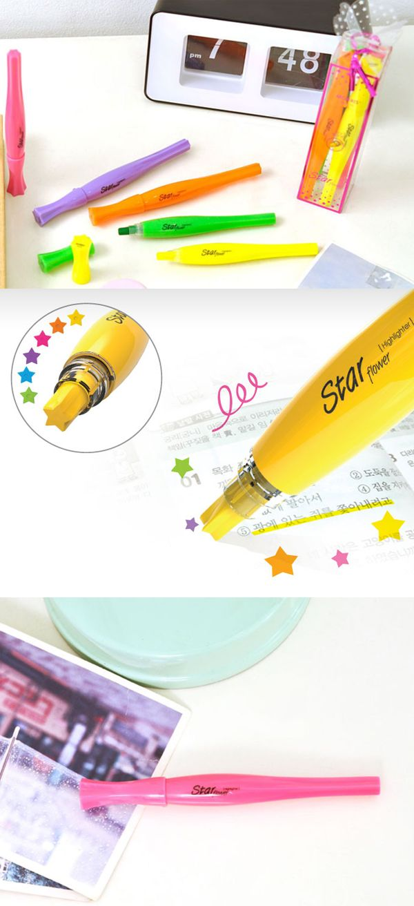 The Star Shaped Highlighter Set includes unique star shaped tip highlighters! These highlighters have bright vibrant colors and have a tip that looks like a star and can be used to easily make thin lines, thick lines, or even a star shape! This highlighter can make any highlighting much more fun!