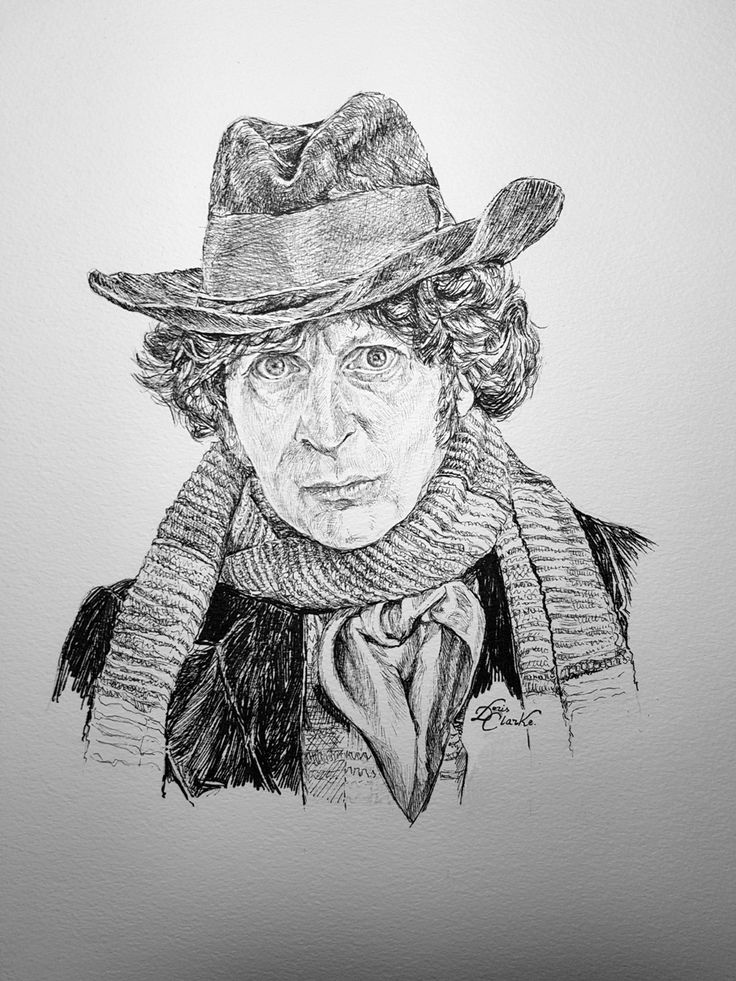 Tom Baker as the 4th Doctor. Pen & Ink illustration drawn by Doris - copyright 2017.  This was the Doctor I grew up with. #DrWho #TomBaker