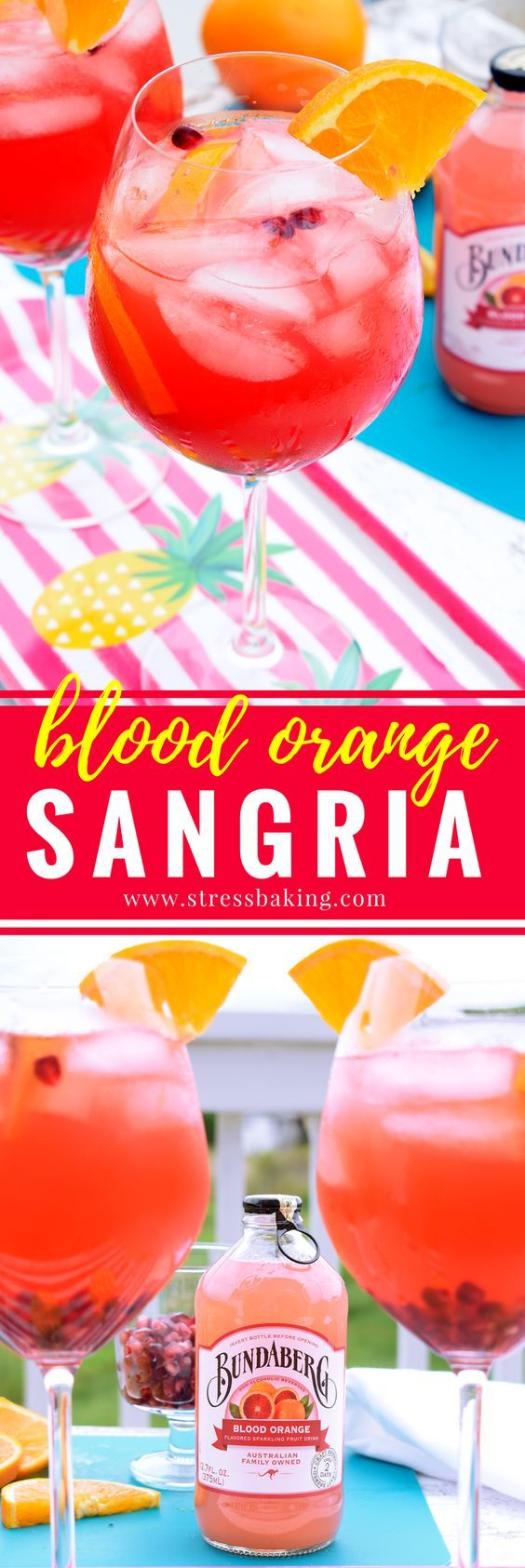 This Blood Orange Sangria looks so refreshing! I can't wait to enjoy this beautiful, vibrant and delightfully fruity sangria made with Bundaberg Blood Orange. AD Msg21+ http://stressbaking.com/2017/05/blood-orange-sangria.html/