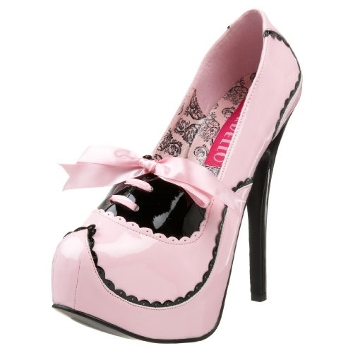 Bordello By Pleaser Women's Platform Pump,Black/Pink Patent