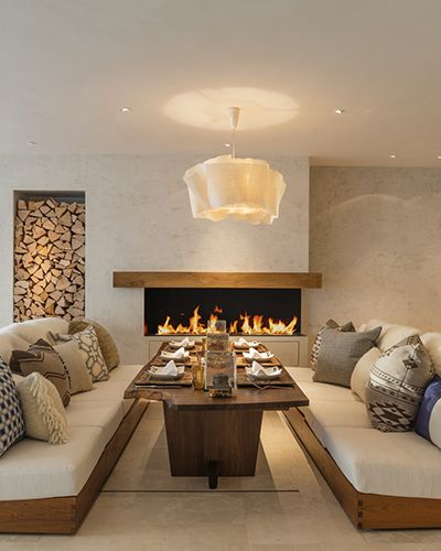 Interior Design by Louise Jones - put a tv over the fire place and its a perfect living room/dining room combo!
