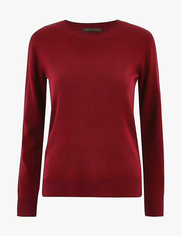Mens M/&S COLLECTION Pure Cotton Crew Neck Jumper Pink