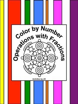 Need a different sort of assignment for a change of pace?  Middle and high school students enjoy color by number worksheets.  Maybe this is because they don't get to color much after elementary school?  If you've never used this type of assignment before, give it a try!This activity consists of 12 problems involving addition, subtraction, multiplication and division of fractions.