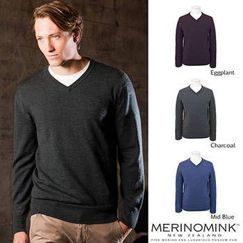 New Zealand Merinomink Mens Merino Wool V Sweater
