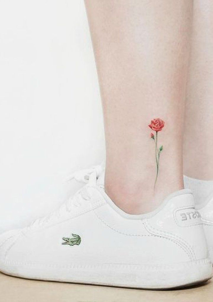 Tiny Minimalist Watercolor Red Ankle Tattoo Ideas For Women Tiny Minimalist Watercolor Red Ankle T Ankle Tattoo Minimalist Tattoo Watercolor Tattoo Flower
