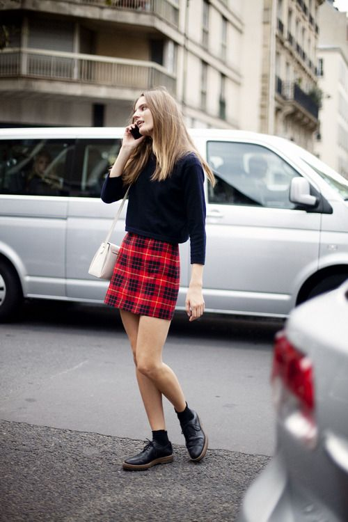 black sweater - tartan skirt and dr marteens:  perfect urban style.