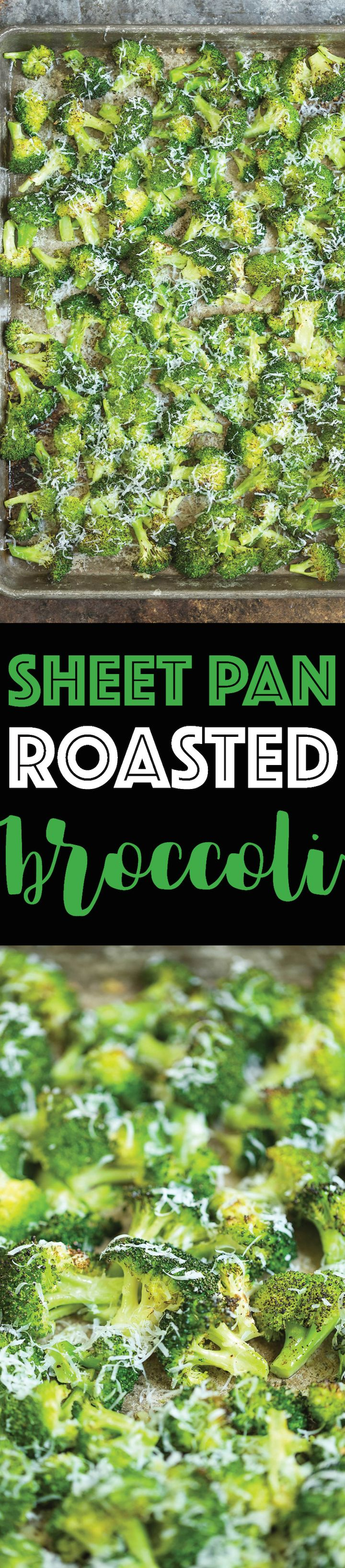 Sheet Pan Roasted Broccoli - How to make roasted broccoli so PERFECTLY and easily using ONE SHEET PAN! The broccoli comes out perfectly crisp and addicting!
