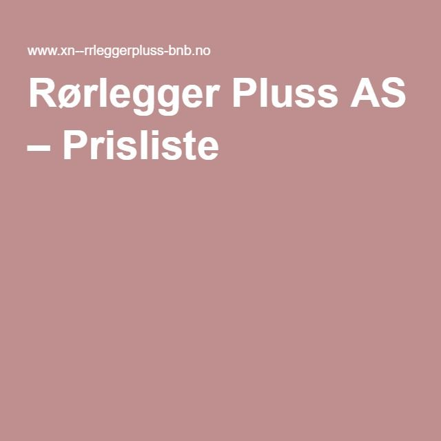 Rørlegger Pluss AS – Prisliste