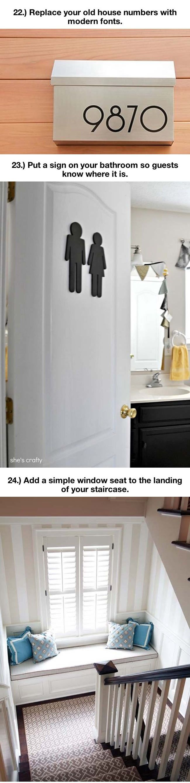"""Sign for guest bathroom door and stair landing window seat, from """"Things That Will Make Your Home Extremely Awesome"""" via The Meta Picture"""