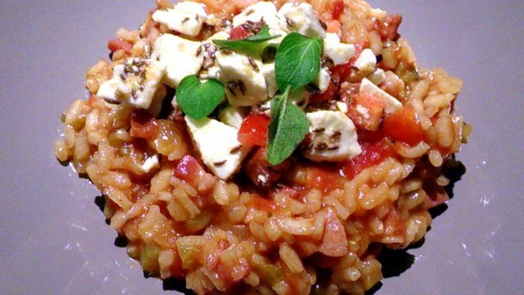 Risotto geïnspireerd door Ottolenghi, een heerlijk gerecht uit het kookboek Jeruzalem.