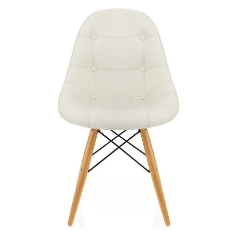 Cushioned Eames Style DSW Chair Cream - Atlantic Shopping