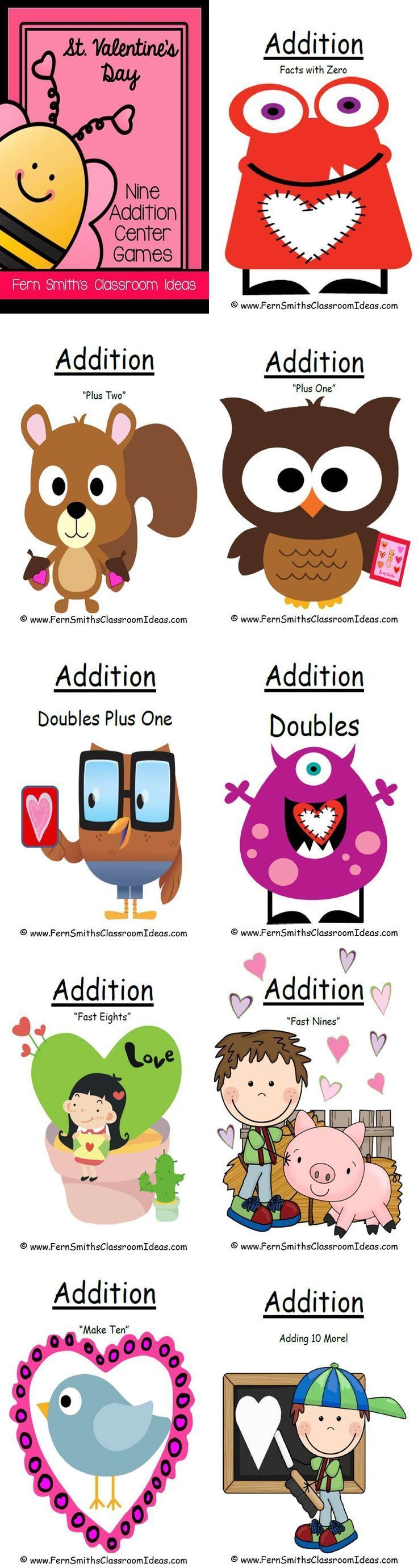 Valentines Addition Center Games - Nine Concepts Addition Facts with Zero Addition Doubles Addition Doubles Plus One Addition Plus One Addition Plus Two Addition Make Ten Addition Fast Eights Addition Fast Nines Addition Adding 10 More #TPT $Paid